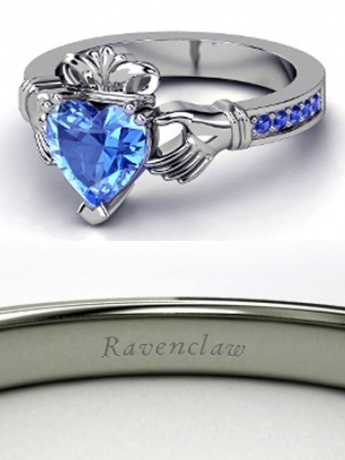 """**Harry Potter: Ravenclaw**  Customise at [Gemvara](https://www.gemvara.com/jewelry/king-claddagh-ring/heart-blue-topaz-14k-white-gold-ring-with-sapphire/b1df1