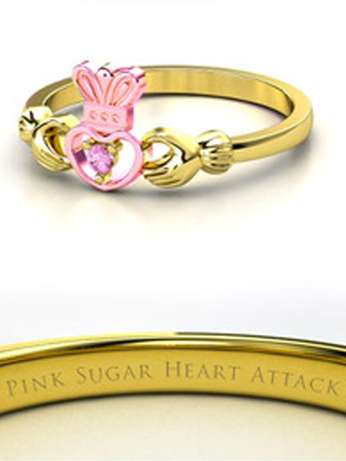 "**Sailor Moon: Sailor Chibi Moon**   Customise at [Gemvara](https://www.gemvara.com/jewelry/petite-claddagh-ring/round-pink-tourmaline-18k-yellow-gold-ring/ksw2p|target=""_blank""|rel=""nofollow"")."