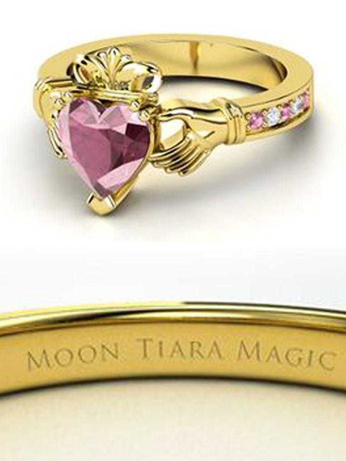 "**Sailor Moon: Sailor Moon**   Customise at [Gemvara](https://www.gemvara.com/jewelry/king-claddagh-ring/heart-pink-tourmaline-18k-yellow-gold-ring-with-pink-tourmaline-and-diamond/7xlbx|target=""_blank""|rel=""nofollow"")."