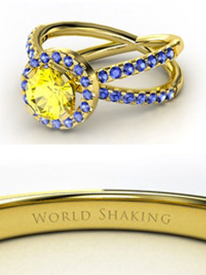 """**Sailor Moon: Sailor Urans**   Customise at [Gemvara](https://www.gemvara.com/jewelry/double-juliet-ring/round-citrine-18k-yellow-gold-ring-with-blue-sapphire-and-citrine/z7tbx