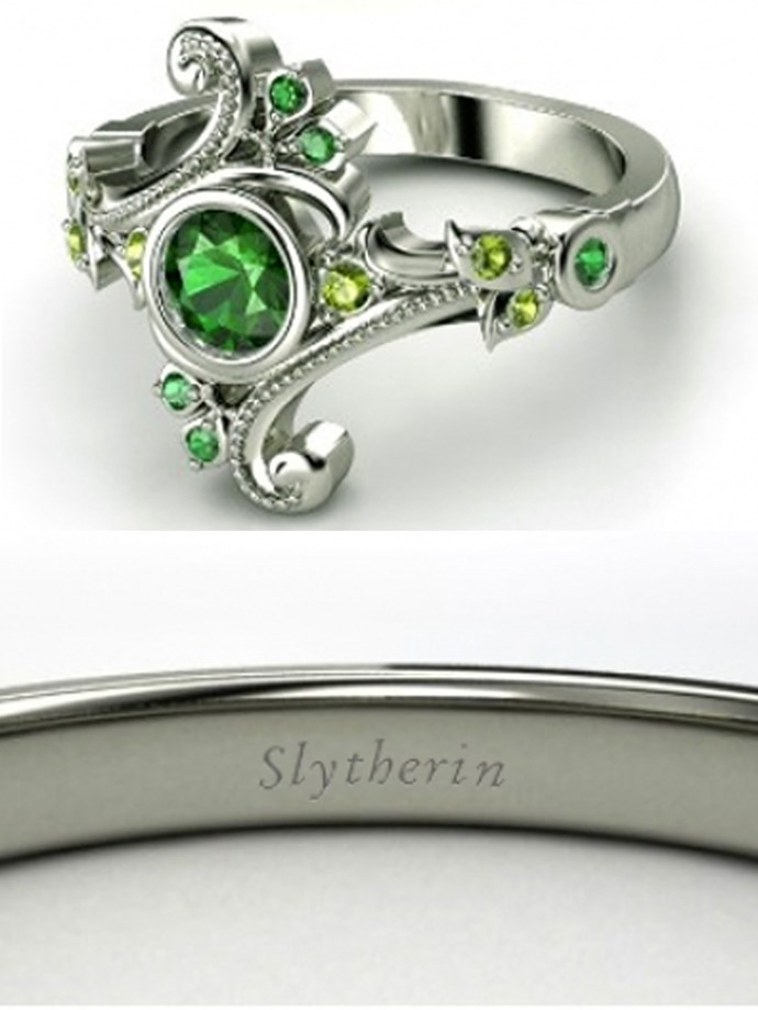 """**Harry Potter: Slytherin**   Customise at [Gemvara](https://www.gemvara.com/jewelry/flamenco-ring/round-emerald-14k-rose-gold-ring-with-white-sapphire/zt1cp