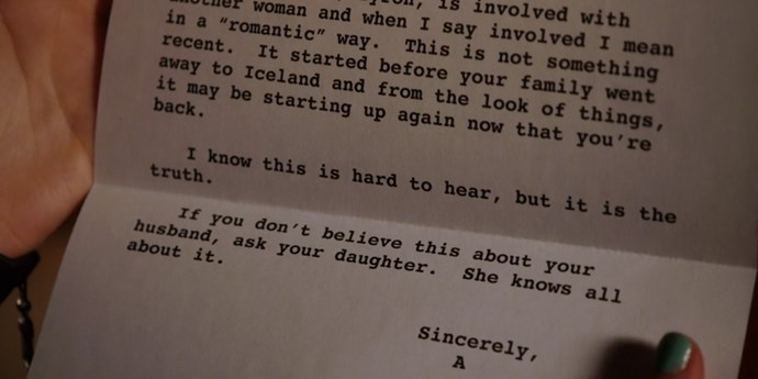 **Letter to Aria's mum**  Only the best stalkers write letters to your mother about her husband's affair.