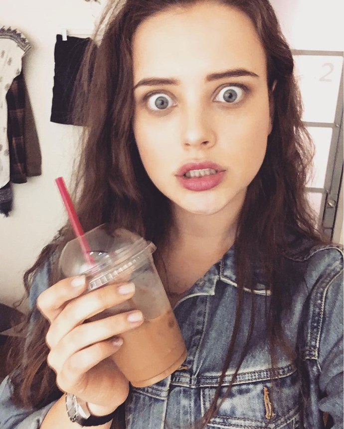 **Katherine Langford**  Katherine plays Hannah Baker.  Instagram: [@katherinelangford]( https://www.instagram.com/katherinelangford/)