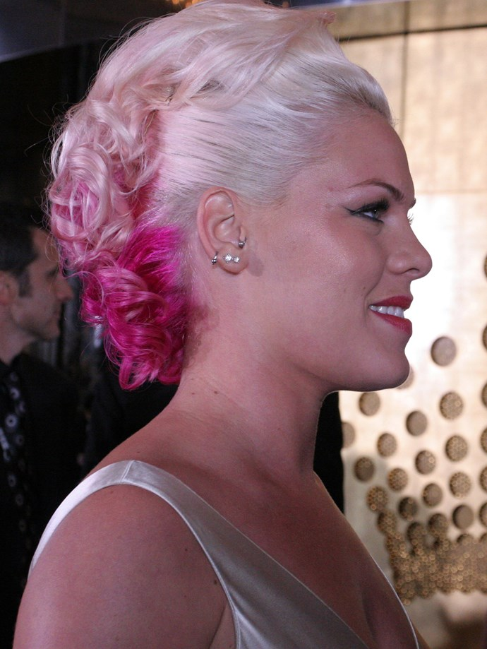 **Coloured Hair**  Hate to break it, but colourful hair was a thing long before fairy floss hair chalk. In fact, it looks like Pink may have taken to her hair with *actual* spray paint. Also, Pink attended The Logies?   *Pink, 2006.*