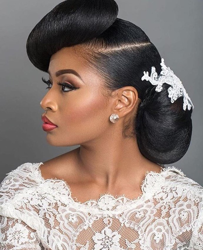 A sculpturesque style like this screams Old Hollywood glamour and goes perfectly with a classic red lip and gasp-worthy, floor-length lace gown.