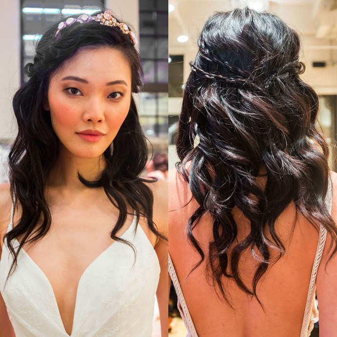 If a tiara feels a little too princessy for you, add some cool, tiny braids to balance out your half-up look.