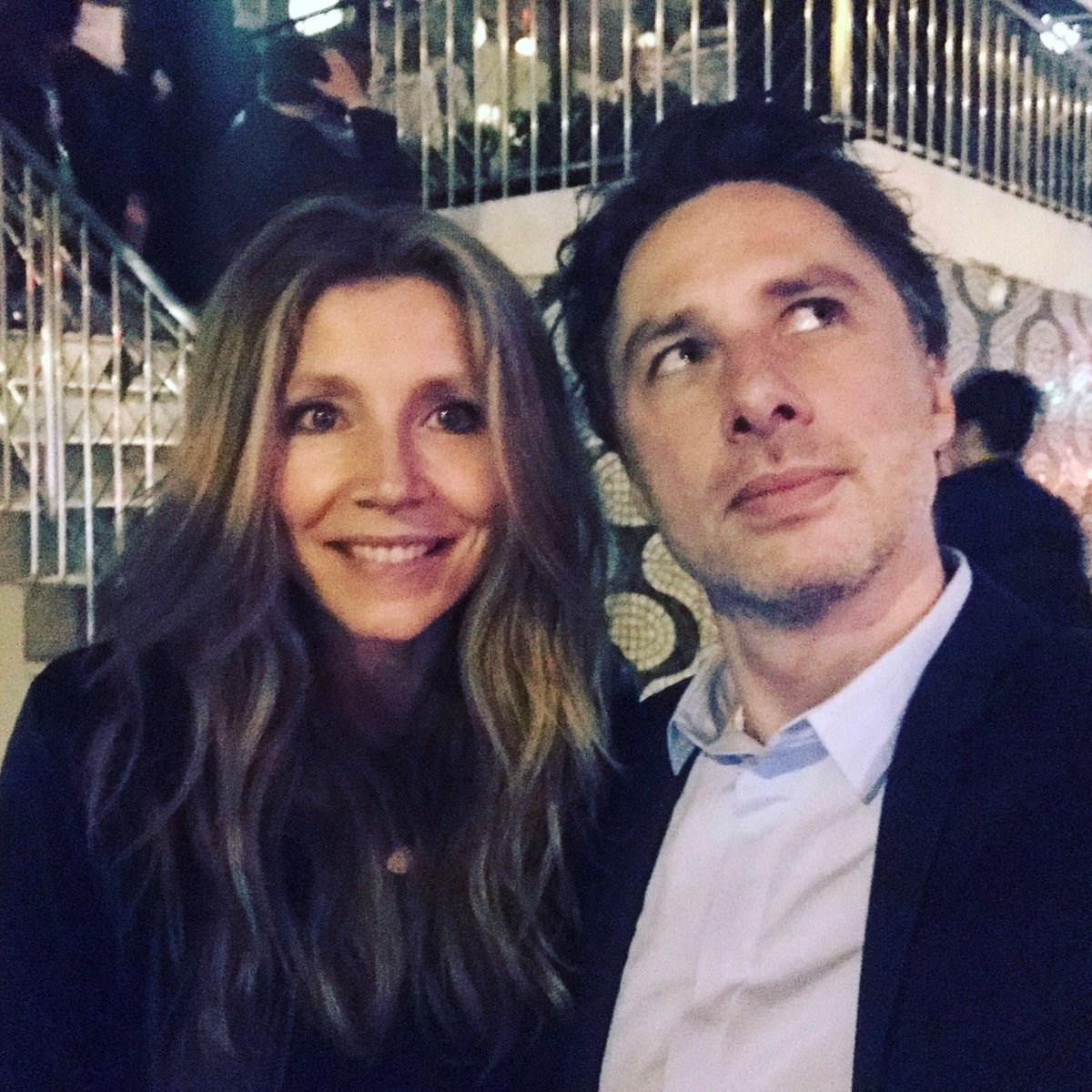 """**Scrubs**  J.D. and Elliot Reid (aka Zach Braff and Sarah Chalke) recently got together for a catch up. Zach captioned this pic on Twitter as """"And that's when I realized..."""" - realised what Zach?! Realised that a *Scrubs* reunion should definitely happen? Because if so, WE NEED TO KNOW!"""