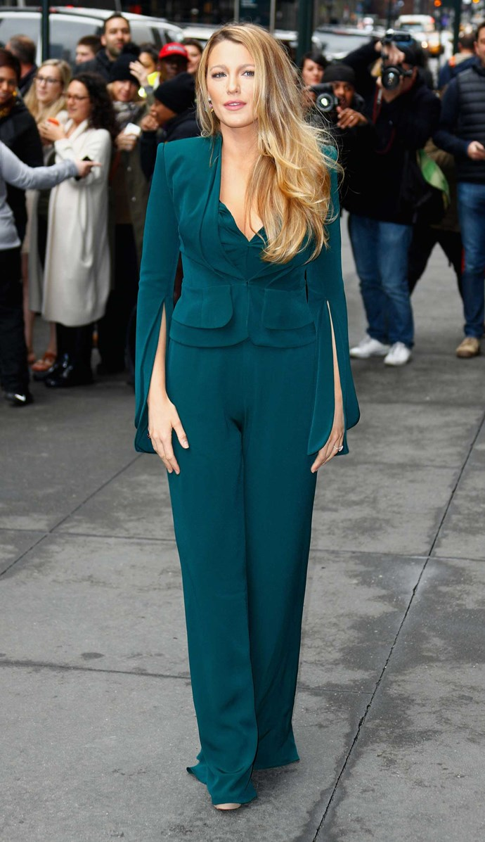 Blake Lively hit the streets of NYC in an emerald green Brandon Maxwell power suit – because what else do you wear to *Variety*'s Power of Women Luncheon? And she even got two looks out of one for the occasion…