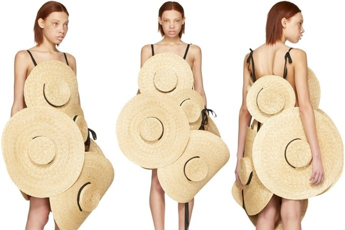 This is next level. French designer [Jacquemus](https://www.ssense.com/en-us/women/product/jacquemus/ssense-exclusive-beige-le-chapeau-santon-straw-hat-dress/2396167) have created a dress made out of straw hats. The most shocking part? It will set you back more than $3500. Yikes! We don't know how we feel.