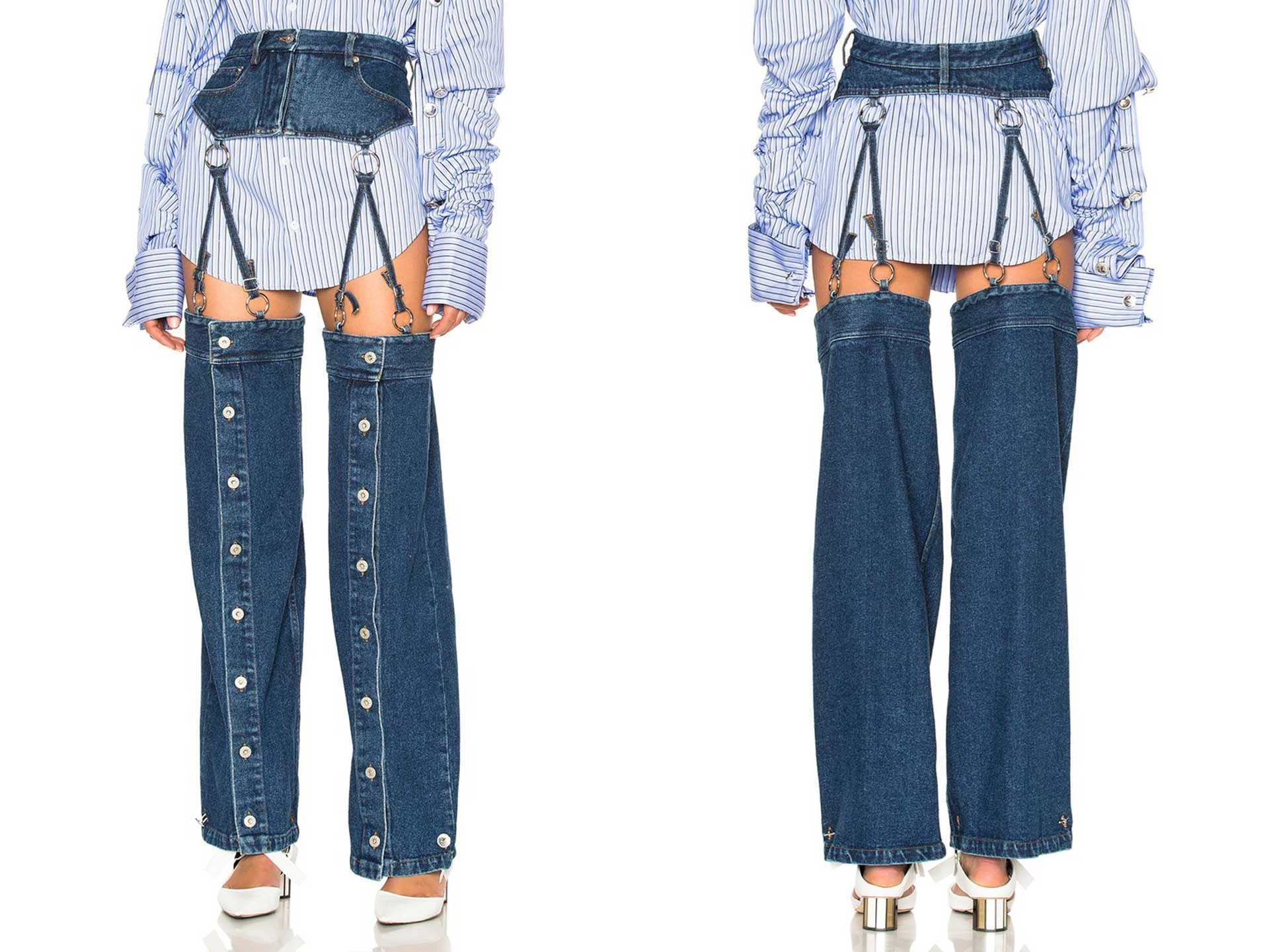 """It's officially happened: Someone designed a pair of jeans that are actually missing the crotch area. Why? 'Cause fashion is cooked. Fortunately, for those looking to rep the ~airy~ trend, this style by [Y/Project](http://www.fwrd.com/product-y-project-detachable-button-down-pants-in-washed-blue/YPRF-WJ4/