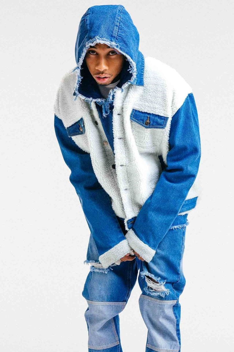 **Tyga**  Tyga hasn't done a full collection on his own, but has collaborated with boohooMAN on an autumn/winter capsule collection with 30 pieces. Would you like your BF to rock a shearling denim jacket à la Tyga?