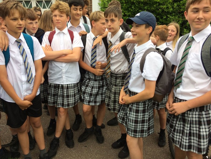 UK schoolboys wear skirts at school during heat wave