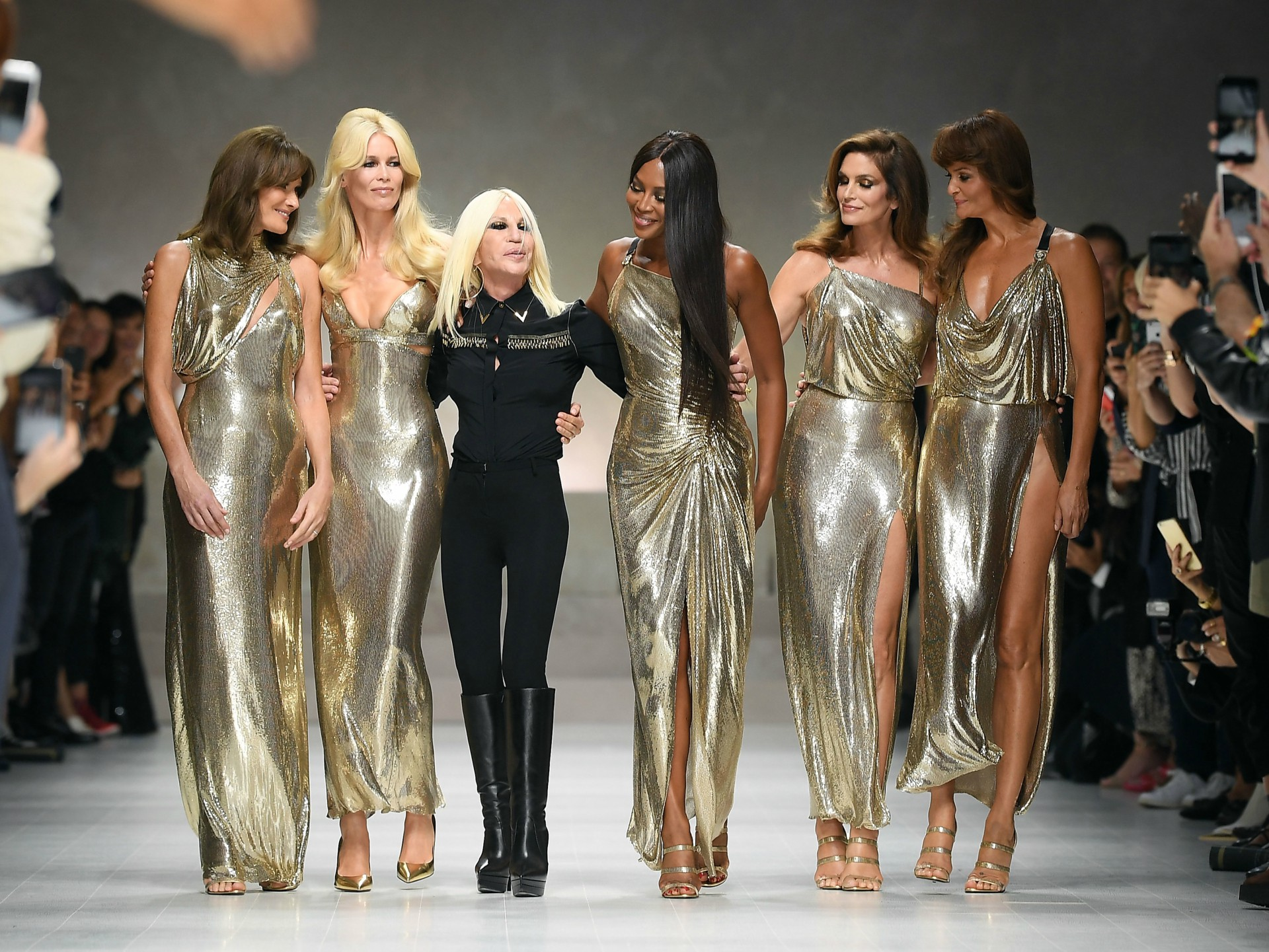 Versace Pays Tribute to Late Gianni at Milan Fashion Week""