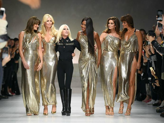Donatella versace just put the og supermodels on the for Donatella versace beach