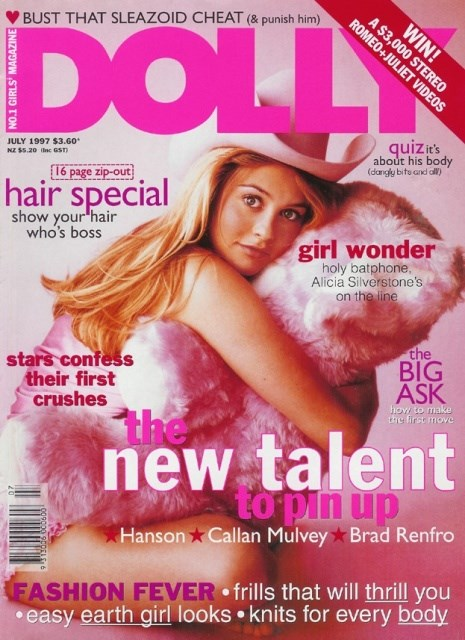 **Alicia Silverstone, July 1997** This Clueless girl was pretty in pink on one of DOLLY's cutest covers ever. Clueless was a maje box office hit back in the day, and this gorge actress was total 90s #goals.