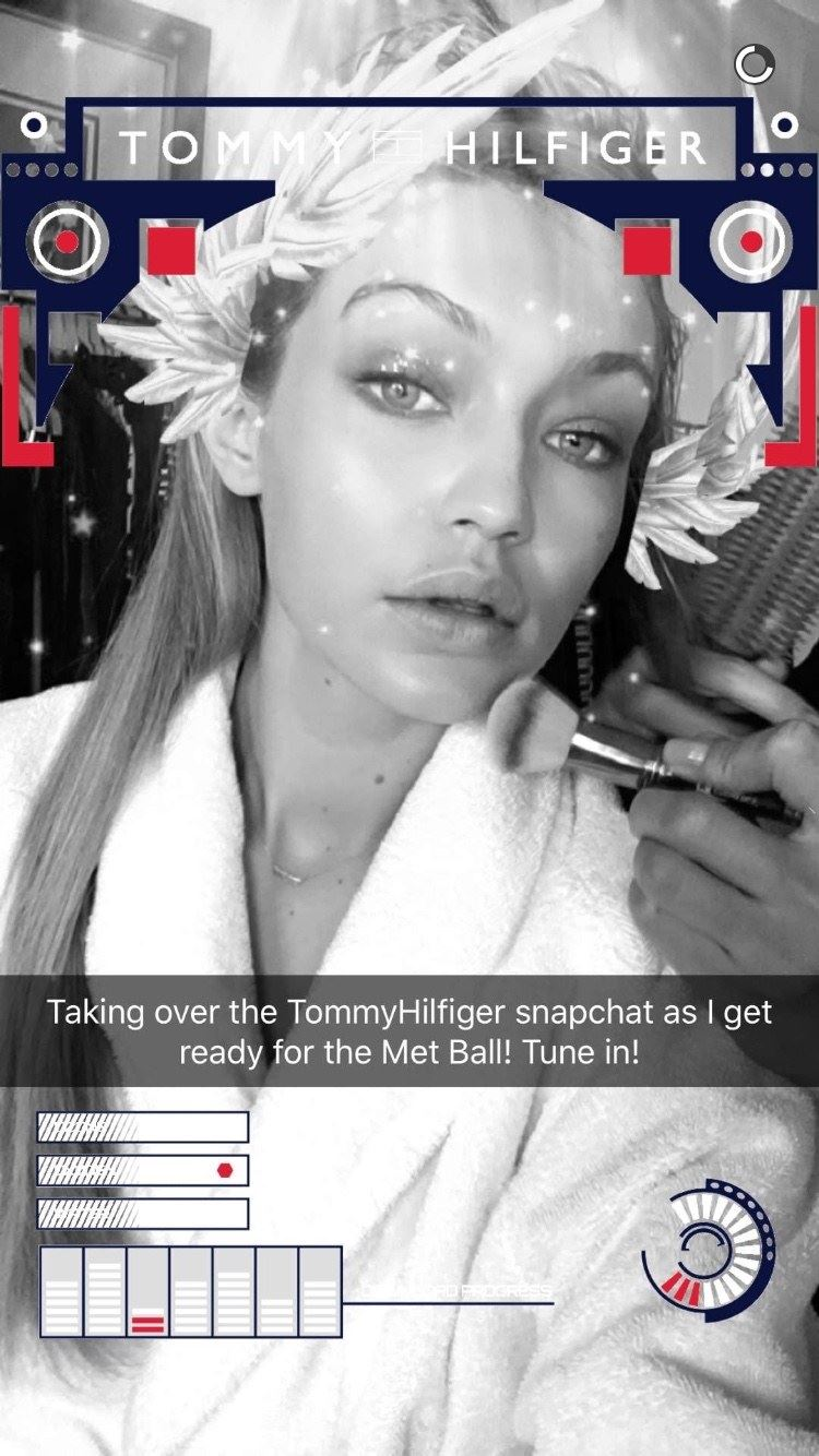 **Gigi Hadid** looks positively ~glowing~ on the Tommy Hilfiger Snapchat.