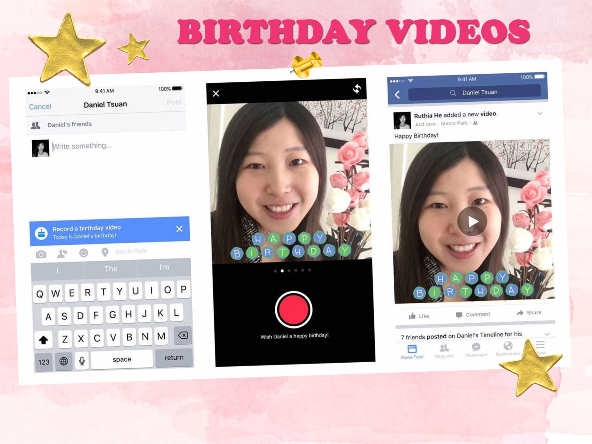 """Make your BFF's birthday a bit more personal than the stock standard """"HB"""" on their timeline with the birthday video function! Proceed to write a post on their wall as usual, and a blue 'record a birthday video' should pop up."""