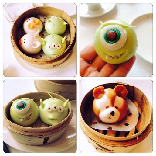 The [Crystal Lotus restaurant](https://www.hongkongdisneyland.com/offers-discounts/dim-sum-lunch-hong-kong-disneyland-hotel/) at Hong Kong's Disneyland, serve bite-size (delicious) dim sums that are made to look like Disney characters. Yes, that's baby Mike Wazowski!
