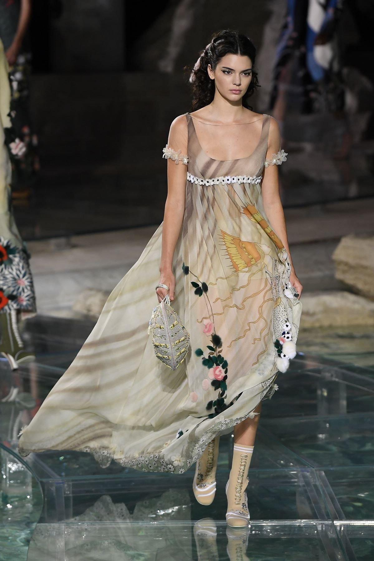 **2016** For Fendi's 90th anniversary event held in front of Rome's iconic Trevi fountain, Kendall Jenner legit stole the show in this ~glorious~ look that easily could be straight outta a fairytale.