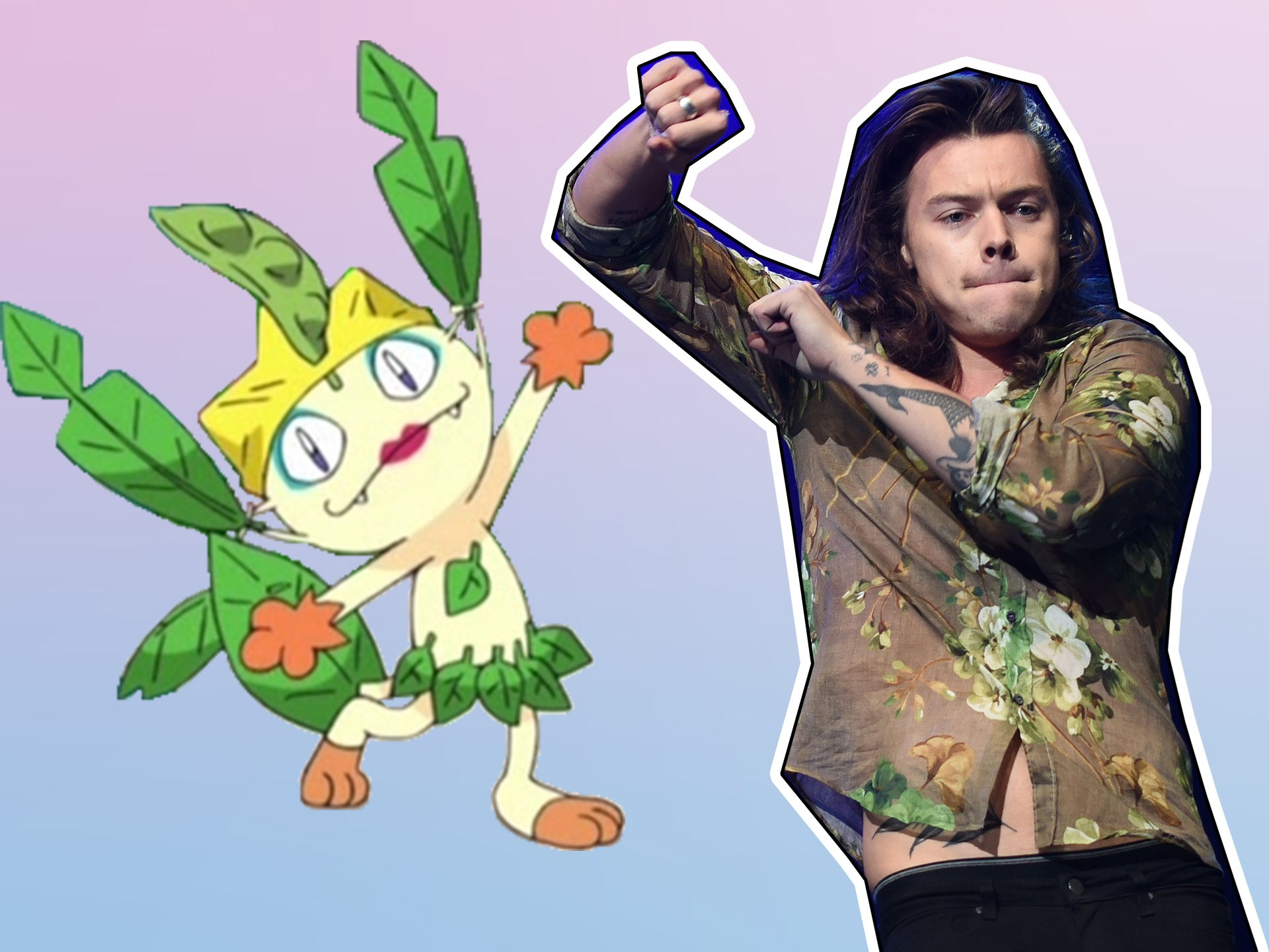Flamboyant? Talented? A force to be reckoned with? Harry Styles = Meowth.