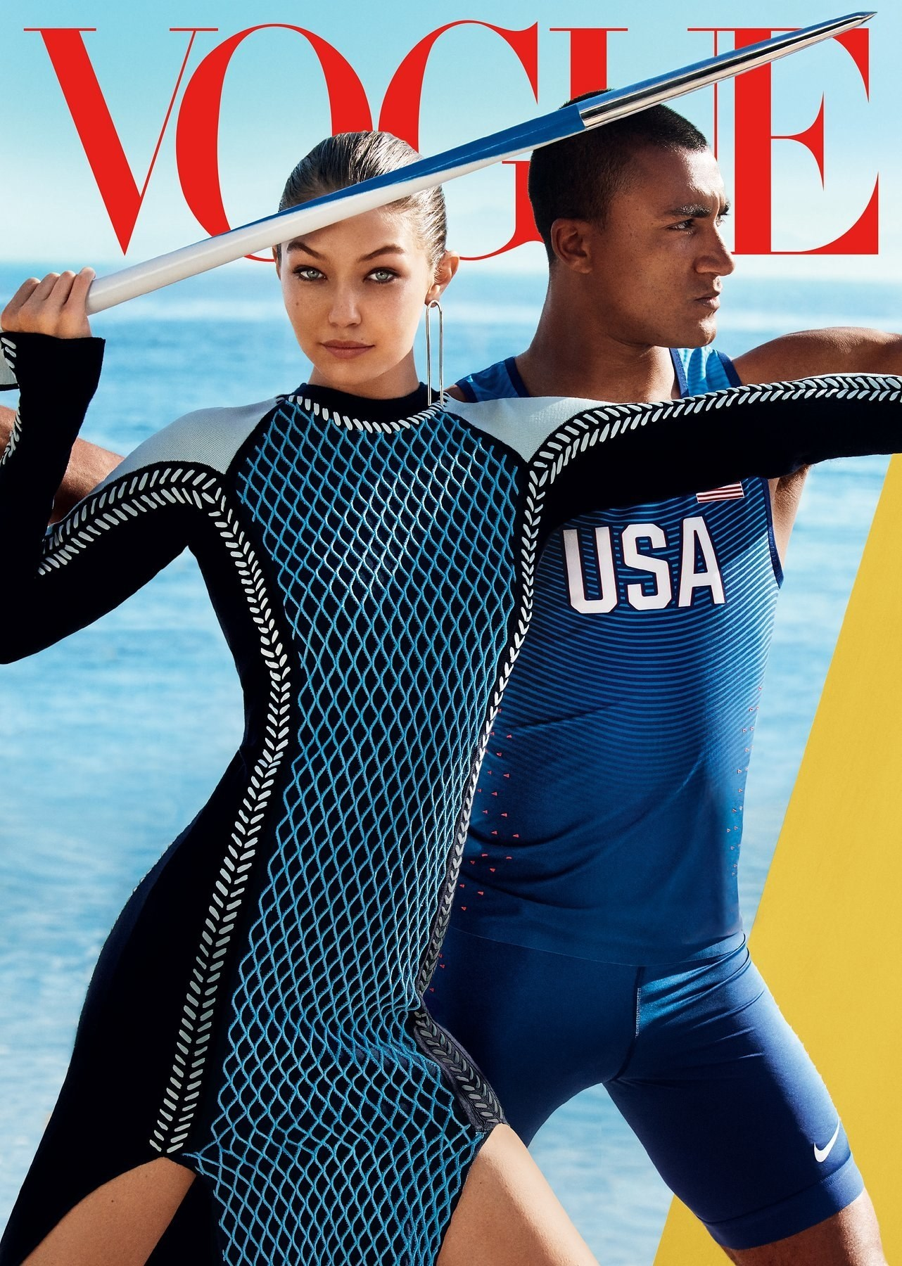 Gigi Hadid has landed her FIRST-ever American *Vogue* cover! Gigi stands alongside athlete Ashton Eaton, and looks like she's about to dominate her javelin class, for the August issue of the ~fancy~ publication. Congrats babes <3