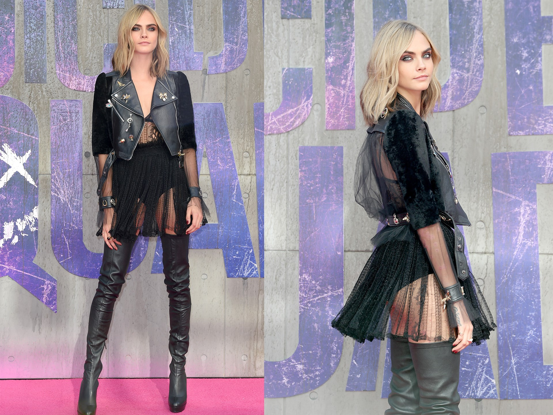 **Cara Delevingne** decided to ditch the pants and rocked an ADORABLE sheer lace dress, thigh-high boots and leather jacket ensemble at the London premiere of *Suicide Squad.*