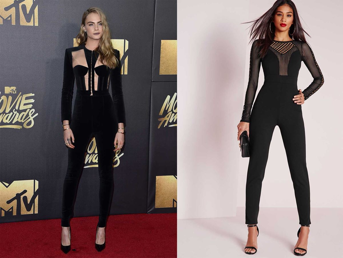 "Get Cara Delevingne's 2016 MTV Movies Awards look from [Missguided for $77](https://www.missguidedau.com/clothing/jumpsuits/fishnet-mesh-insert-jumpsuit-black|target=""_blank""