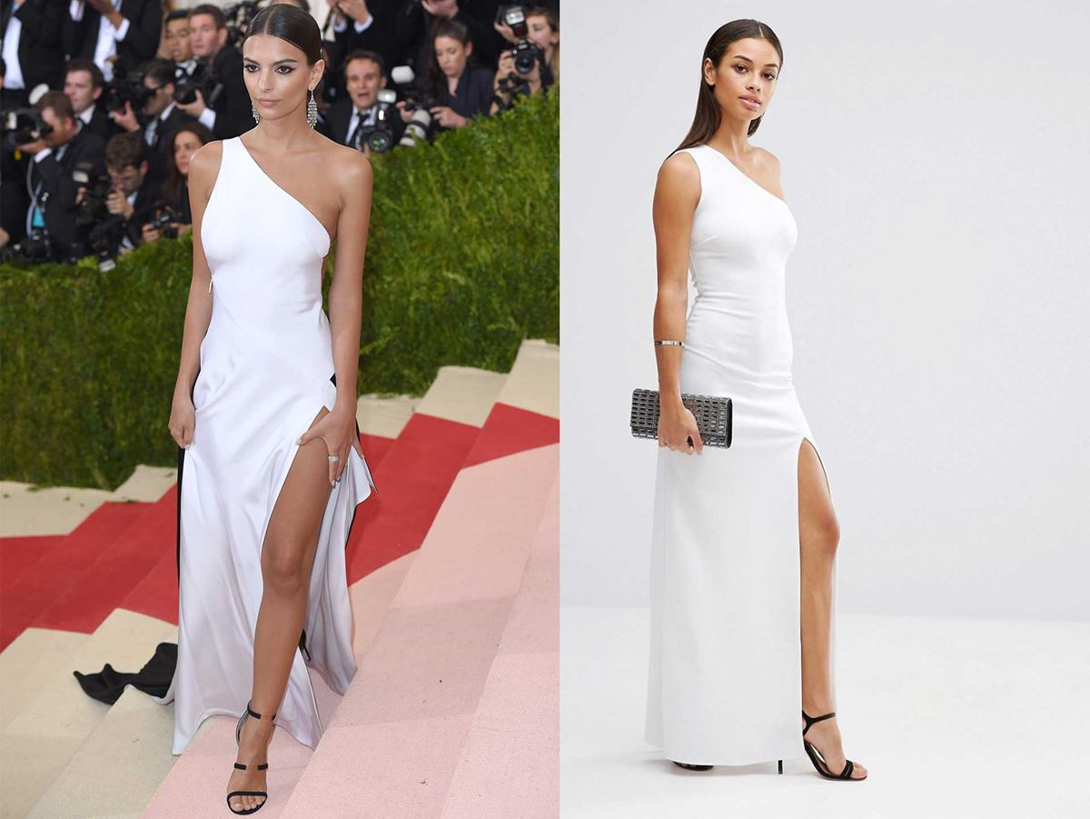 "Get Emily Ratajkowski's 2016 Met Gala look from [Asos for $91](http://www.asos.com/au/john-zack-petite/john-zack-petite-one-shoulder-maxi-dress-with-thigh-split/prod/pgeproduct.aspx?iid=6956383&clr=White&SearchQuery=john+zack&pgesize=8&pge=0&totalstyles=8&gridsize=3&gridrow=1&gridcolumn=1|target=""_blank""