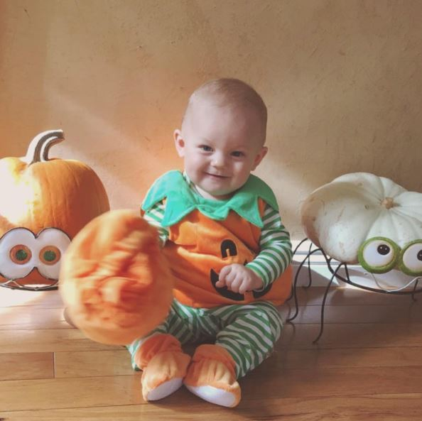 Could little baby Freddie look any *cuter* dressed as a pumpkin for Halloween?!
