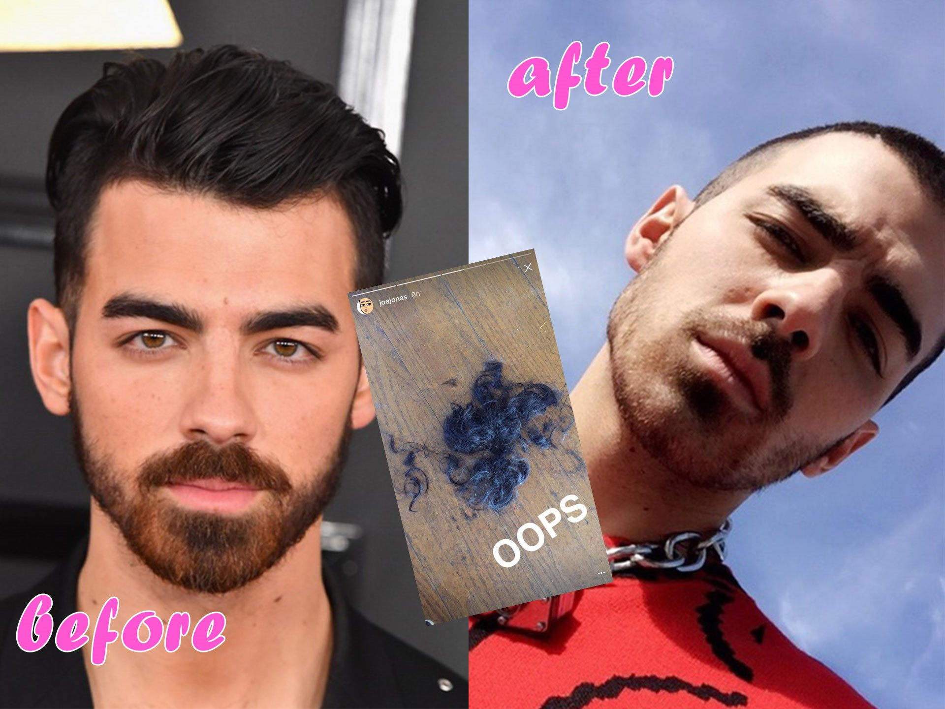 Joe Jonas has shaved off all his head! The star let fans know in a cheeky Snapchat showing all his chopped off locks on the floor. Honestly, we're diggin' this look on Joe!