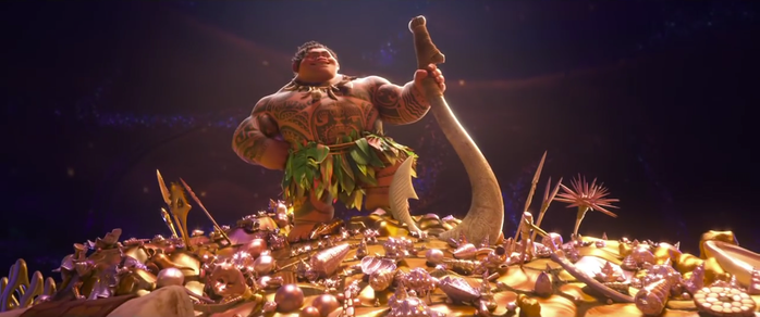 When Maui is posing in this large pile of treasures, there is one item in particular that is from *Aladdin*. Can you spot it? (Hint: it's in the left corner.)  Click to the next slide to reveal the answer!