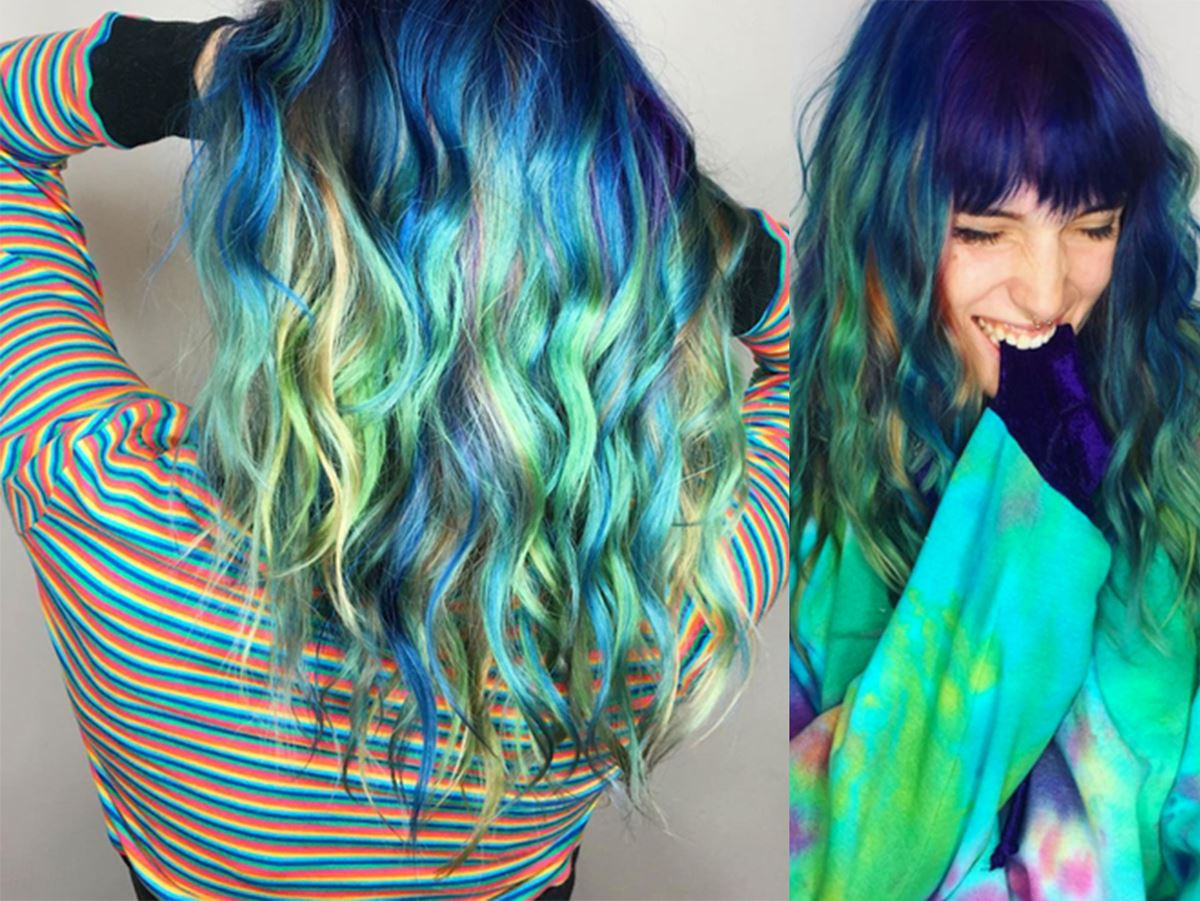 """Dani Thorne (Bella Thorne's sister) usually rocks Bella's old (and truly missed) red hair, but now she has gone RAINBOW and we can't even handle how perfect it is.  """"Mermaid vibes on my head. I'm dying inside. Thank you @stephhstyles , you killed it!! @katietesto,"""" she wrote."""