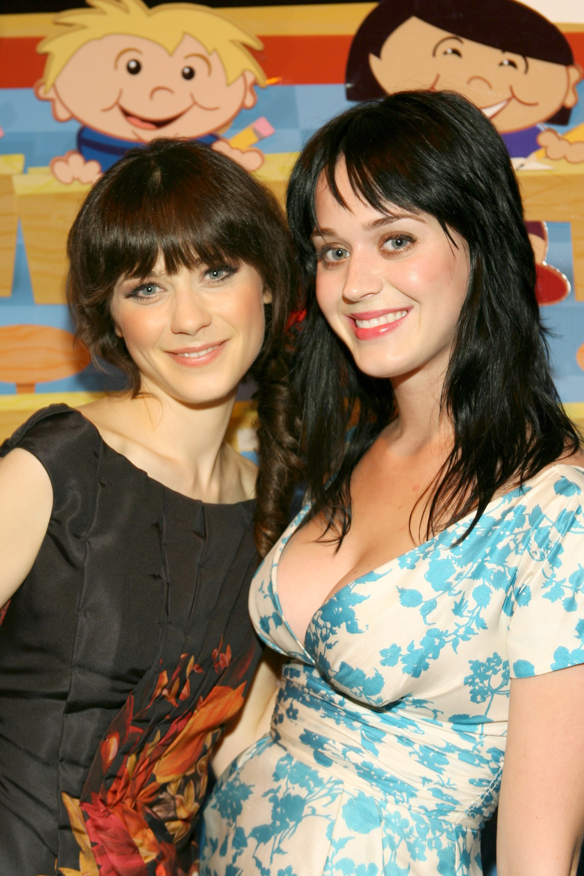 **Zooey Deschanel and Katy Perry**  Back when K-Pez had dark locks, you could barely tell these two apart!