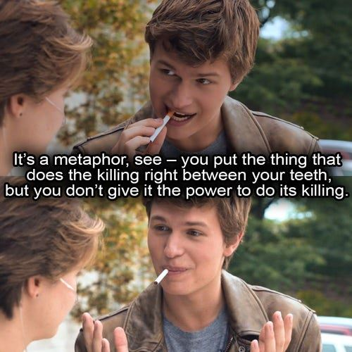 **His metaphor's are on point.** Unlit cigarette's have a special place in our hearts.