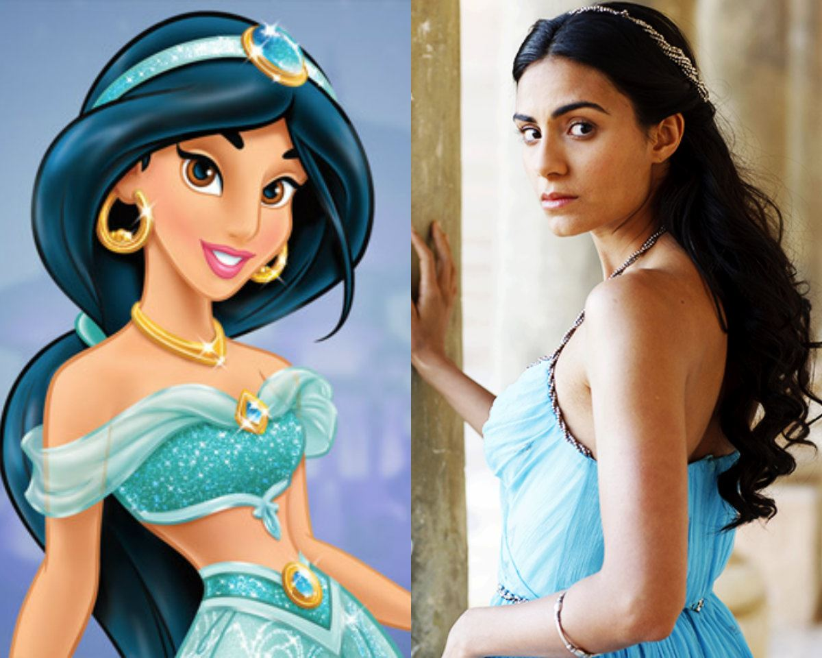 **Ayisha Hart as Princess Jasmine**  British-Saudi starlet Ayisha has already starred in *Atlantis* and several British dramas, plus she's a dead ringer for the gorg princess.