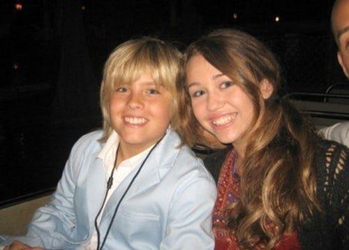 "**Dylan Sprouse and Miley Cyrus**  Miley's relationship with Nick Jonas is an integral part of the Disney Channel love story saga but before Nick, there was Dylan. That's right, these two dated for legit one day as Dylan shared on *Jimmy Kimmel Live!.*  ""We met on her set, I believe and we dated. And then Nick Jonas walked by and then it was over. Then we went home,"" Dylan explained.  Wow, what could've been if Nick hadn't come in the way."