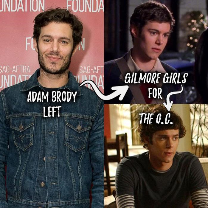 **Adam Brody left Gilmore Girls for The O.C.. ** Lane's perfect boyfriend Dave Rygalski abruptly went away to college in California — and Adam Brody was also leaving for the Golden State. Instead of returning as Dave in Gilmore Girls' fourth season, he stepped into the role of Seth Cohen on The O.C. Fans are still debating if it was worth it.