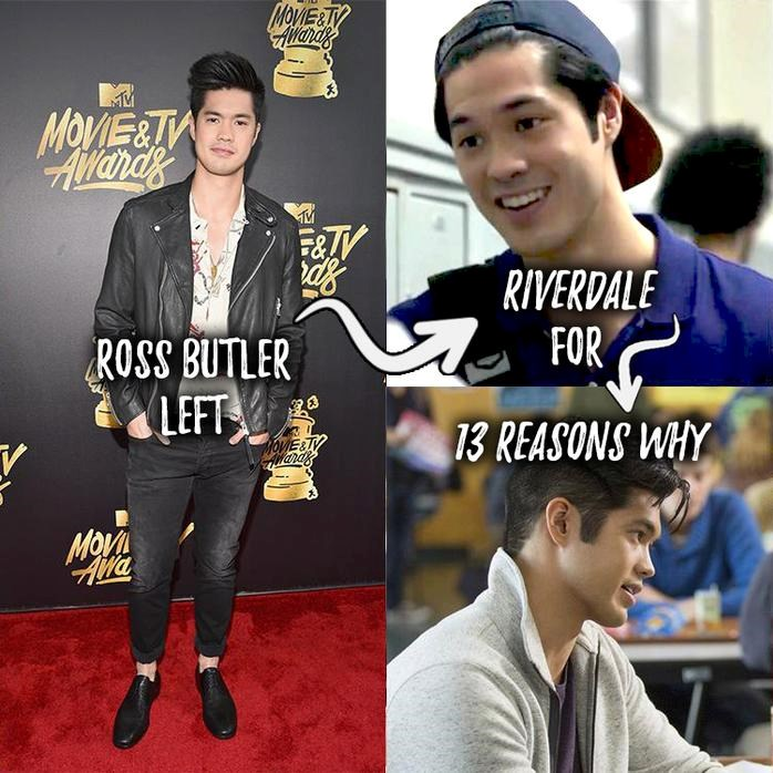 **Ross Butler left Riverdale for 13 Reasons Why** When the Netflix show got picked up for a second season, Ross had to say goodbye to his character, Reggie. Luckily, the equally hot Charles Melton is taking over the role.