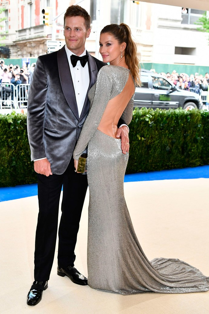 Gisele Bundchen, in Stella McCartney, and Tom Brady.