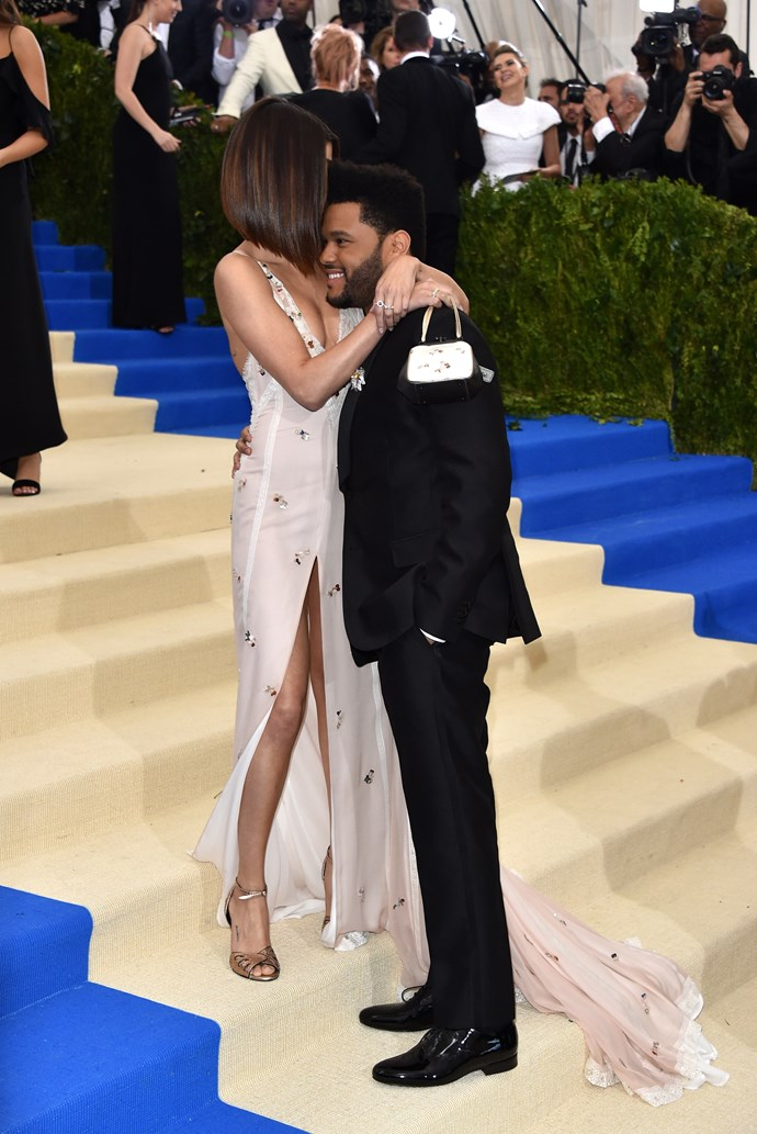 Selena Gomez, in Coach, and The Weeknd.