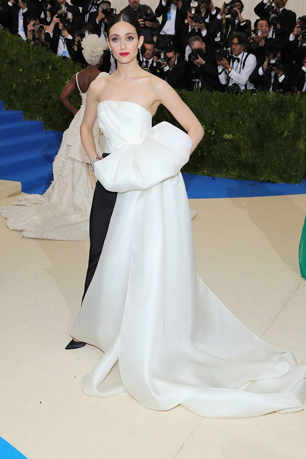 Emmy Rossum in Carolina Herrera.