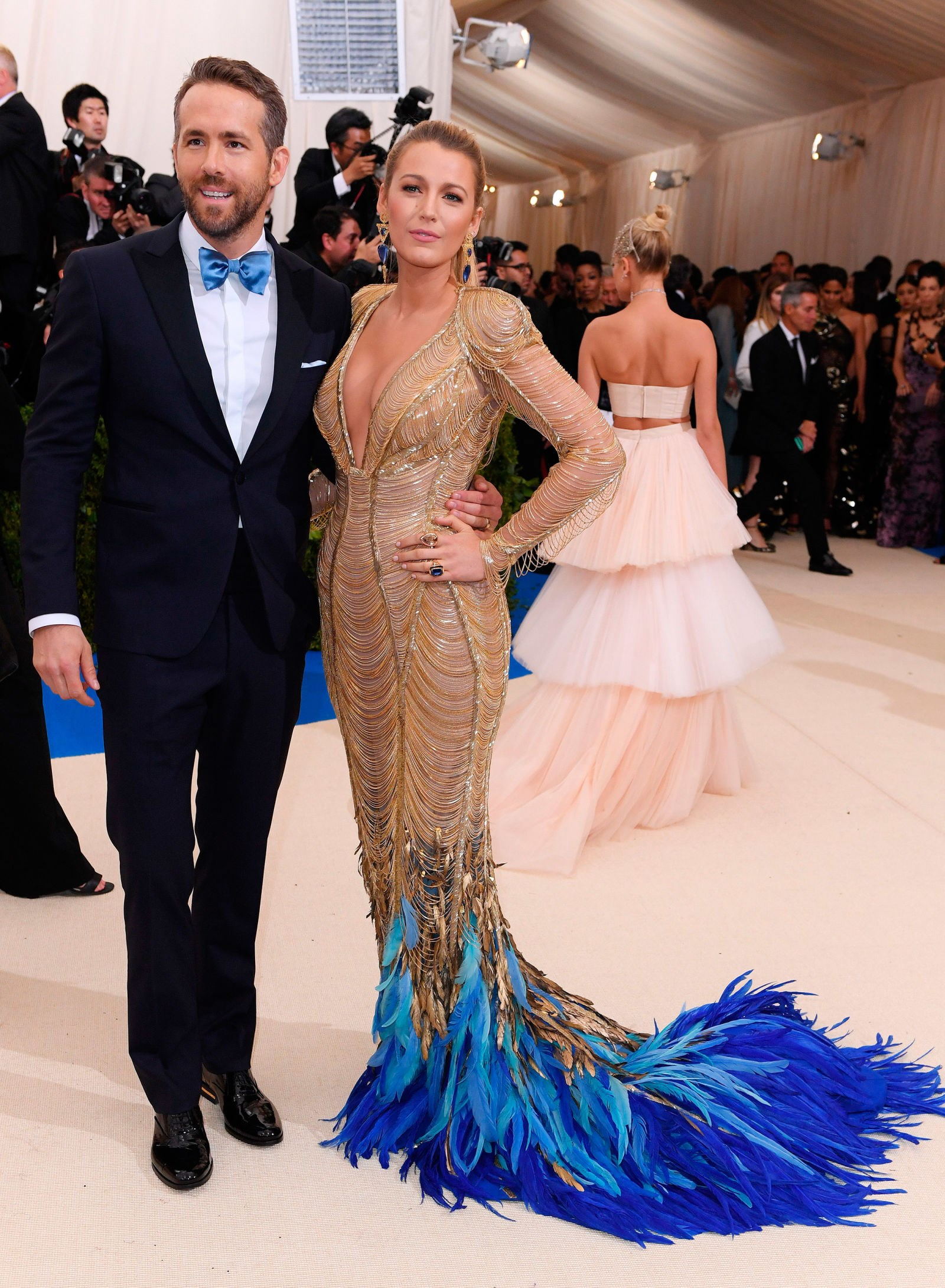 Blake Lively, in Versace, and Ryan Reynolds.