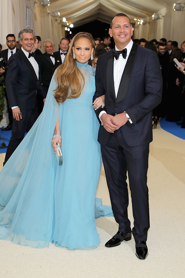 Jennifer Lopez, in Valentino, and Alex Rodriguez.