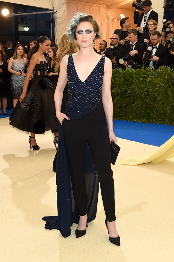 Evan Rachel Wood in Altuzarra trousers.