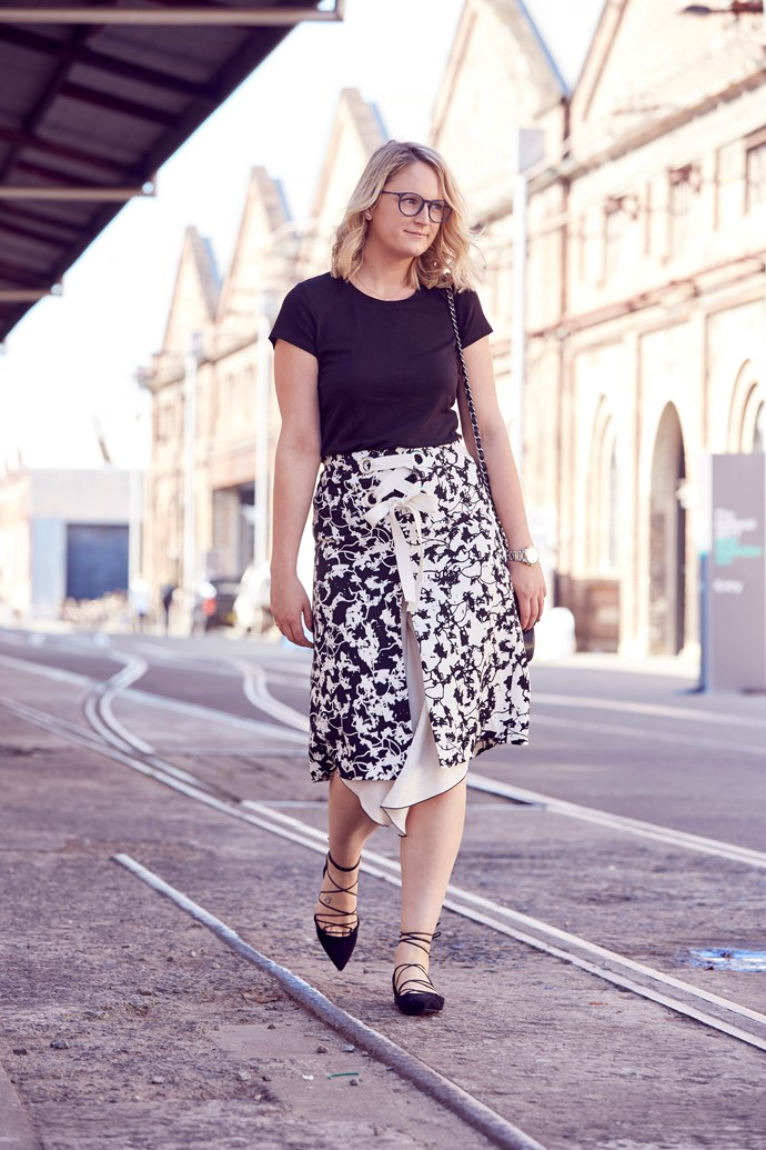 "ELLE Managing Editor, Brooke Bickmore wears Proenza Schouler skirt, Uniqlo top, Saint Laurent flats, Chanel handbag and [Giorgio Armani](http://www.opsm.com.au/) glasses. ""All laced up! These glasses are the accessory equivalent to my plain black tee. They go with just about everything."""
