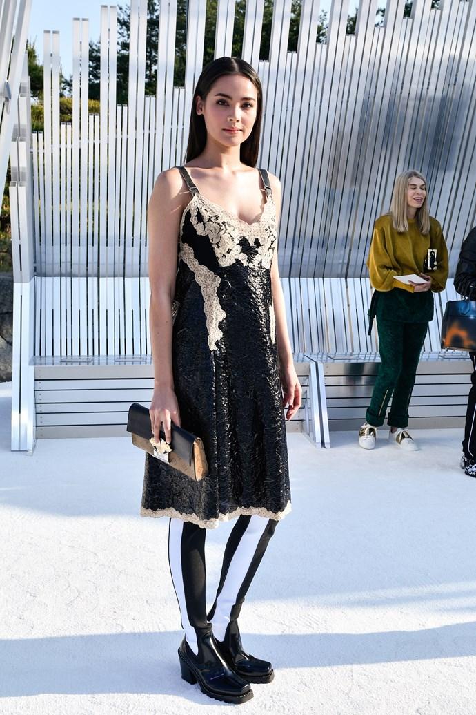 Who: Urassaya Sperbund  Where: Louis Vuitton Cruise '18  What: Thai actress and model  Age: 24