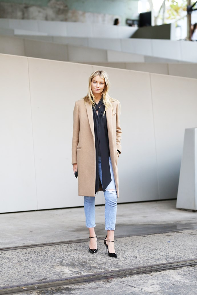 ELLE Fashion Week Guest Editor, Elyse Taylor wears Céline coat, Balenciaga top and Citizens of Humanity jeans.