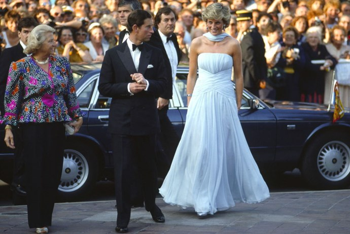 **PRINCE CHARLES AND PRINCESS DIANA, 1987**  The lovely Diana created an iconic moment when she walked the red carpet in this powder blue Catherine Walker dress. In 2011, this look sold at auction for £81k.