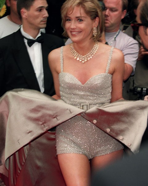 **SHARON STONE, 1995**  Sharon, forever our inspiration for doing the sparkle no pants dance.