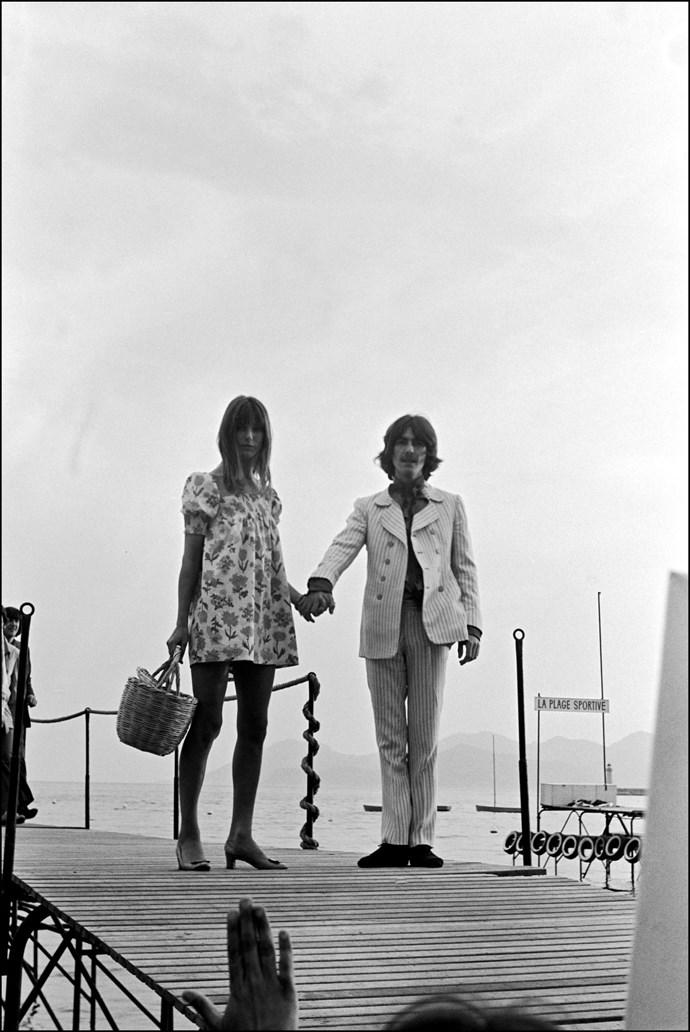 **JANE BIRKIN AND GEORGE HARRISON, 1968**  Two beautiful British imports.